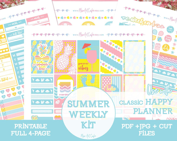 Printable Summer Vibes Weekly Kit - Classic Happy Planner - Miso Art Cafe