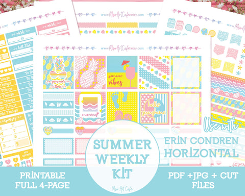 Printable Summer Vibes Weekly Kit - Erin Condren Horizontal - Miso Art Cafe