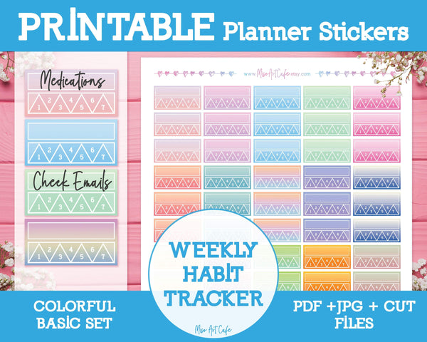 Printable Weekly Habit Trackers - Colorful Basic Planner Stickers - Miso Art Cafe