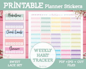 Printable Weekly Habit Trackers - Sweet Lace Planner Stickers - Miso Art Cafe