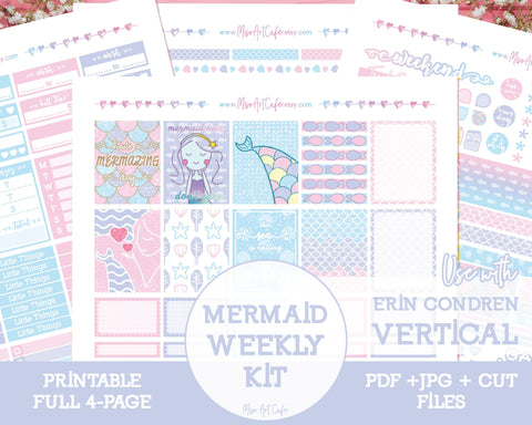 Printable Mermazing Weekly Kit - Erin Condren Vertical - Miso Art Cafe Stickers for Planners