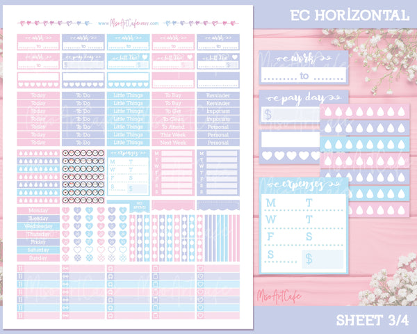Printable Mermazing Weekly Kit - Erin Condren Horizontal - Miso Art Cafe Stickers for Planners