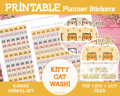 Printable Cat Pattern Washi Tape - Kawaii Animal Planner Stickers - Miso Art Cafe