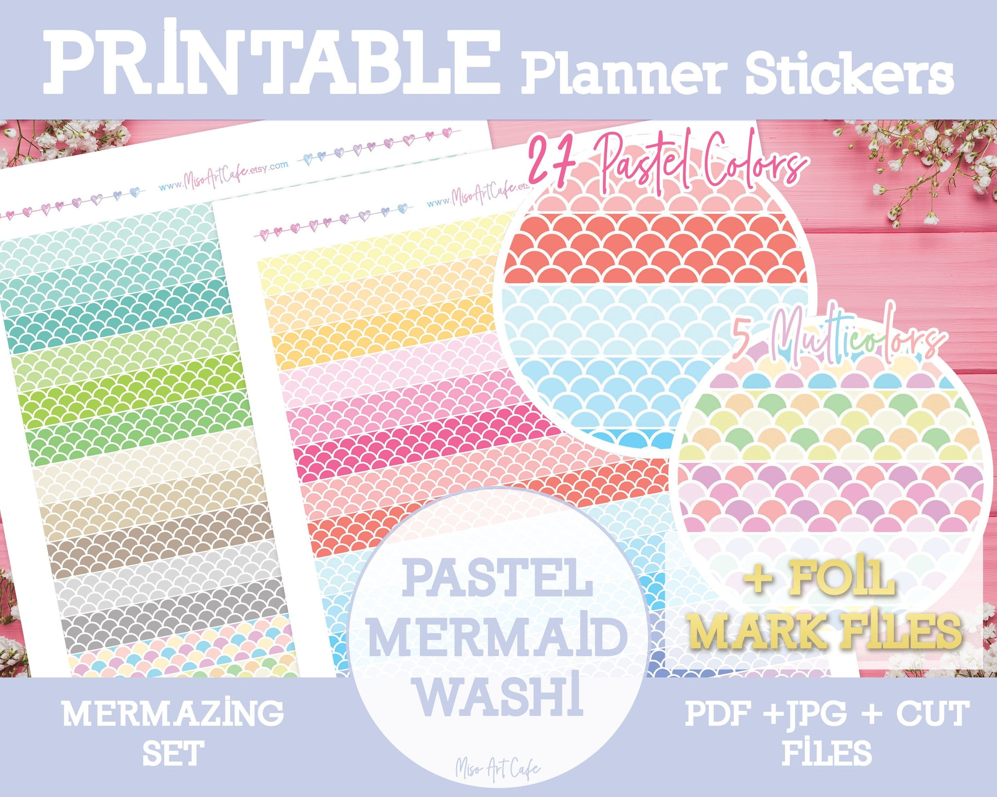 Printable Mermaid Pattern Washi Tape - Mermazing Planner Stickers - Miso Art Cafe