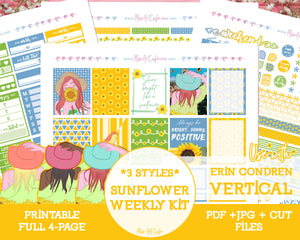 Printable Sunflower Weekly Kit - Erin Condren Vertical - Miso Art Cafe Stickers for Planners