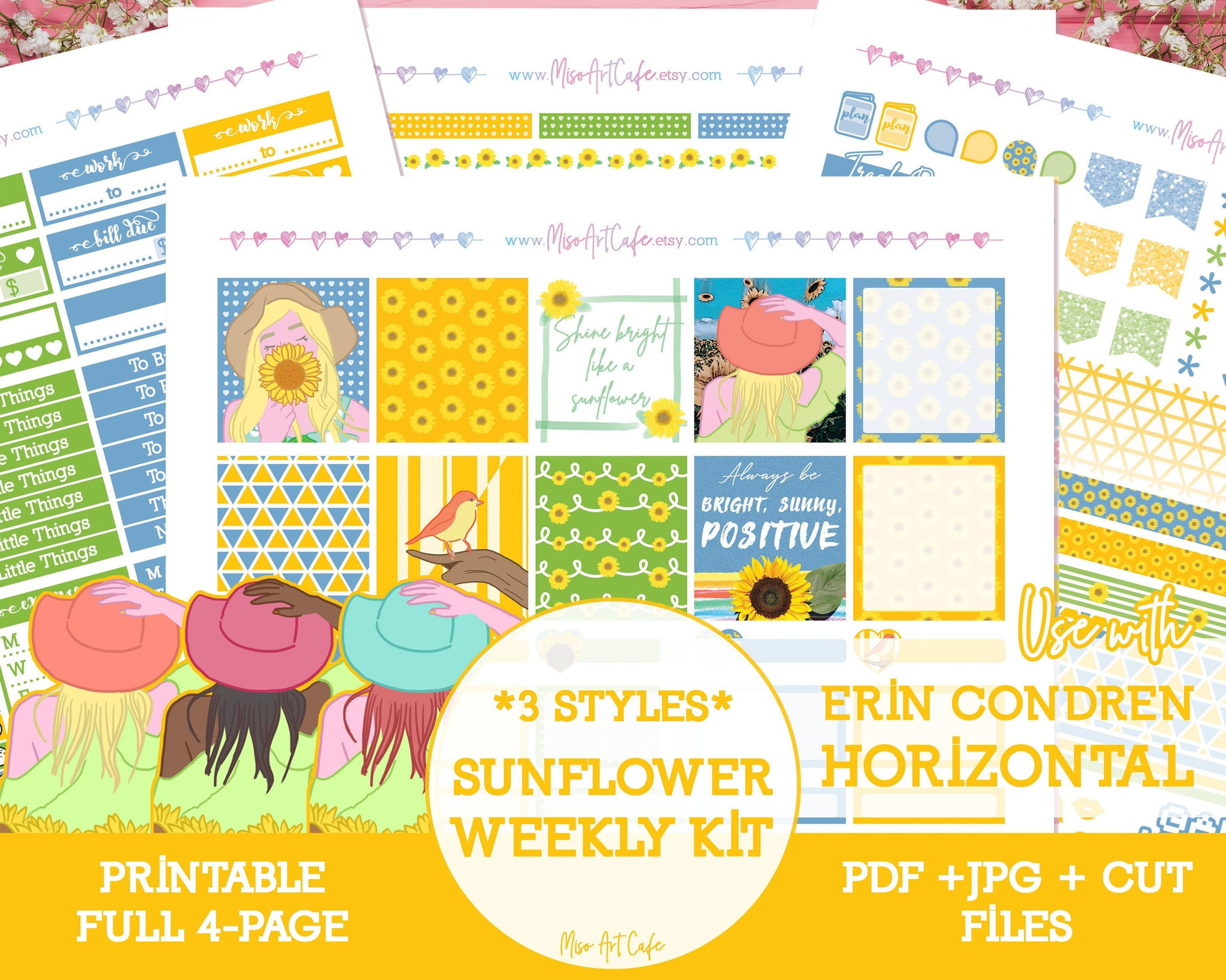 Printable Sunflower Weekly Kit - Erin Condren Horizontal - Miso Art Cafe