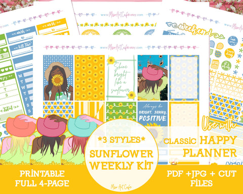 Printable Sunflower Weekly Kit - Classic Happy Planner - Miso Art Cafe