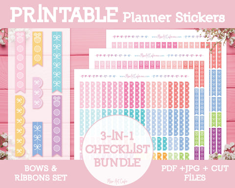 Printable 3-in-1 Bow Checklists - Bows & Ribbons Planner Stickers - Miso Art Cafe