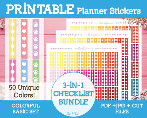 Printable 3-in-1 Colorful Checklists - Colorful Basic Planner Stickers - Miso Art Cafe