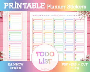 Printable To Do Lists - Rainbow Planner Stickers - Miso Art Cafe Stickers for Planners