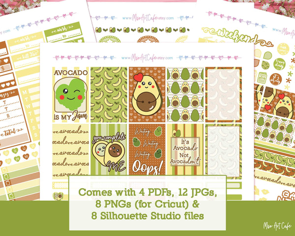 Printable Avocado Weekly Kit - Classic Happy Planner - Miso Art Cafe