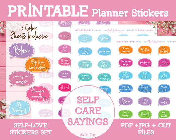 Printable Inspirational Sayings - Self Love Planner Stickers - Miso Art Cafe Stickers for Planners