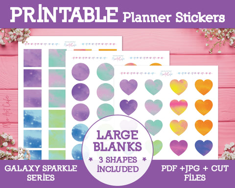 Printable Blank Large Labels - Galaxy Sparkle Planner Stickers - Miso Art Cafe