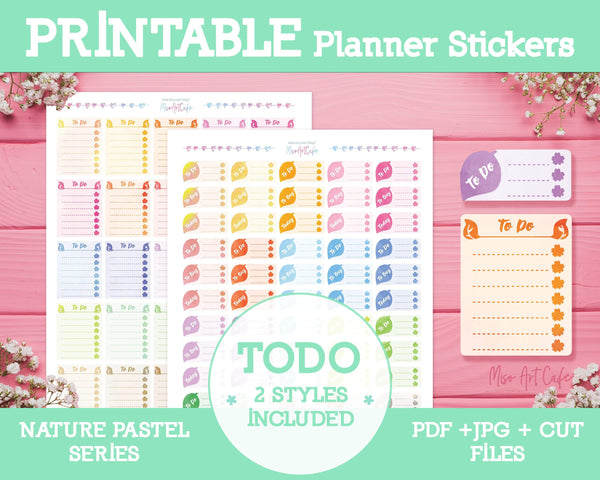 Printable To Do Lists - Nature Pastel Planner Stickers - Miso Art Cafe