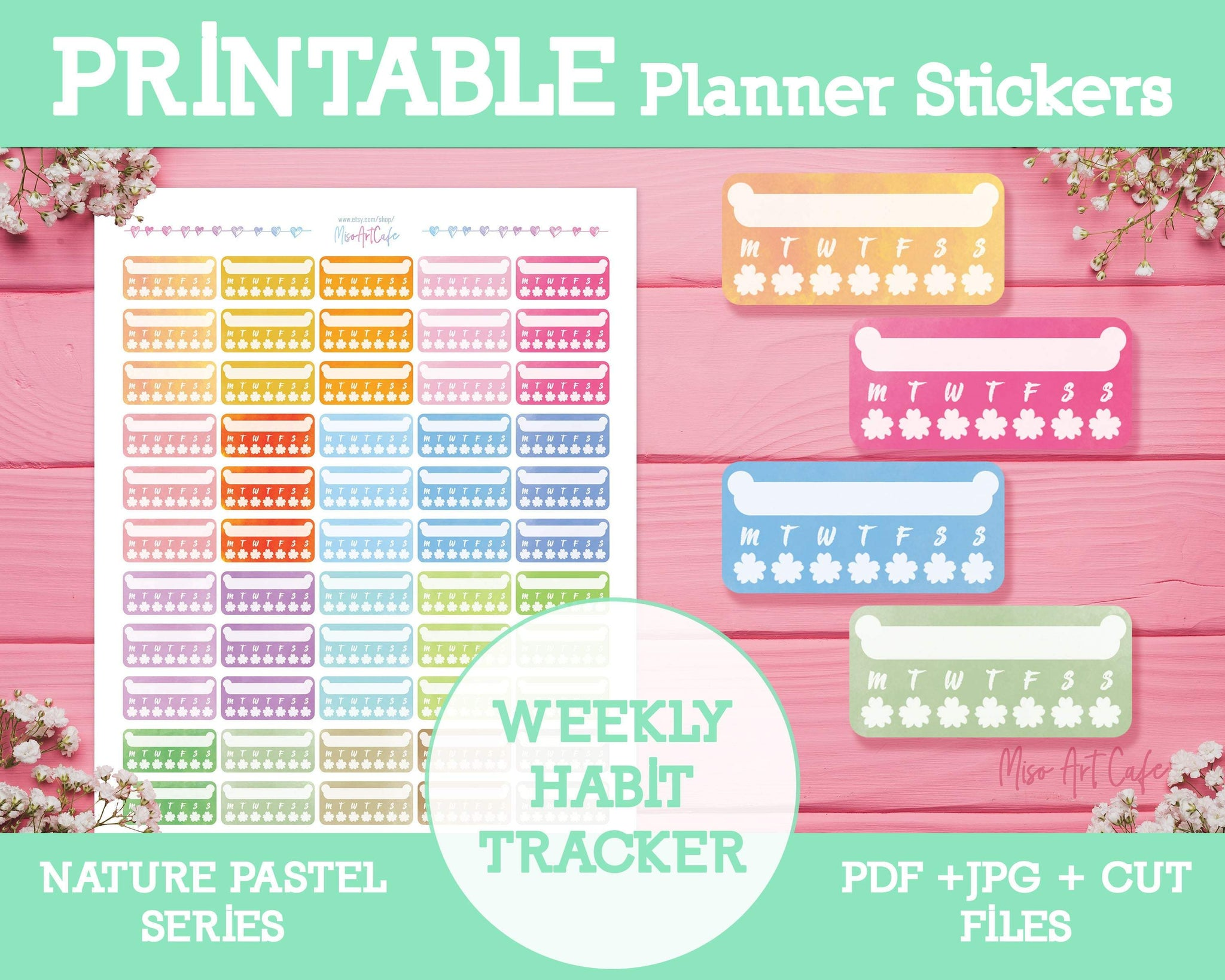 Printable Weekly Habit Trackers - Nature Pastel Planner Stickers - Miso Art Cafe