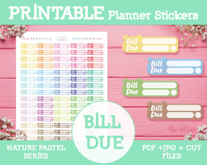 Printable Bill Due - Nature Pastel Planner Stickers - Miso Art Cafe