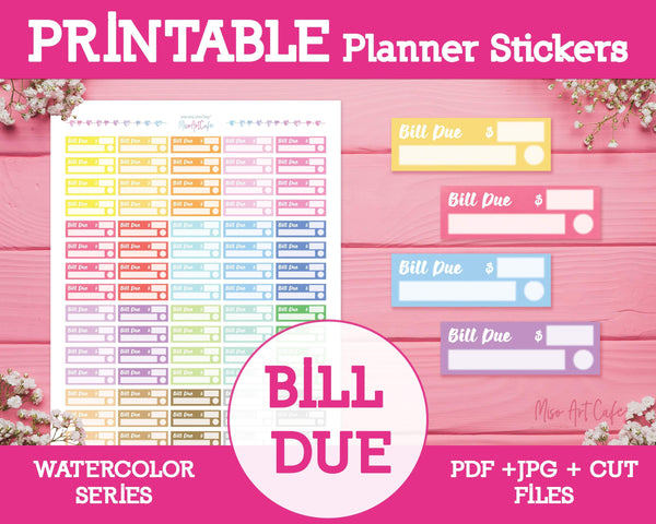 Printable Bill Due - Watercolor Planner Stickers - Miso Art Cafe