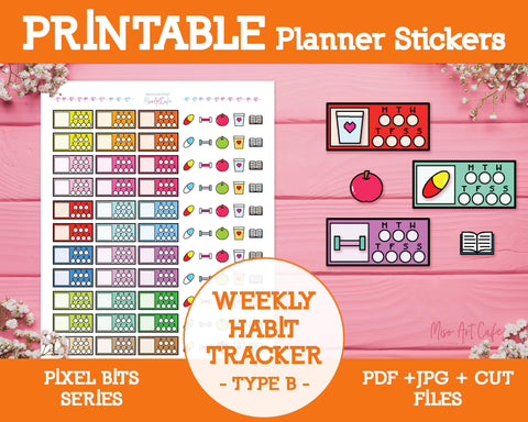 Printable Weekly Habit Trackers [B] - Pixel Bits Planner Stickers - Miso Art Cafe