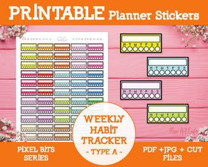 Printable Weekly Habit Trackers [A] - Pixel Bits Planner Stickers - Miso Art Cafe