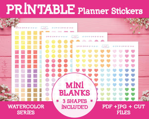 Printable Blank Mini Labels - Watercolor Planner Stickers - Miso Art Cafe