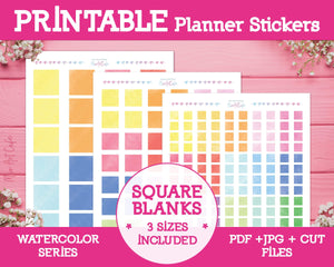 Printable Blank Square Labels - Watercolor Planner Stickers - Miso Art Cafe