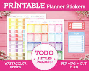 Printable To Do Lists - Watercolor Planner Stickers - Miso Art Cafe