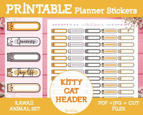 Printable Blank Headers (Cat) - Kawaii Animal Planner Stickers - Miso Art Cafe