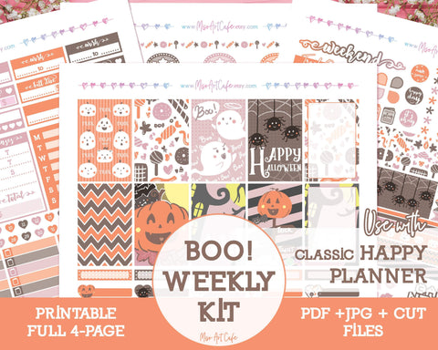 Printable Halloween Boo Weekly Kit - Classic Happy Planner - Miso Art Cafe