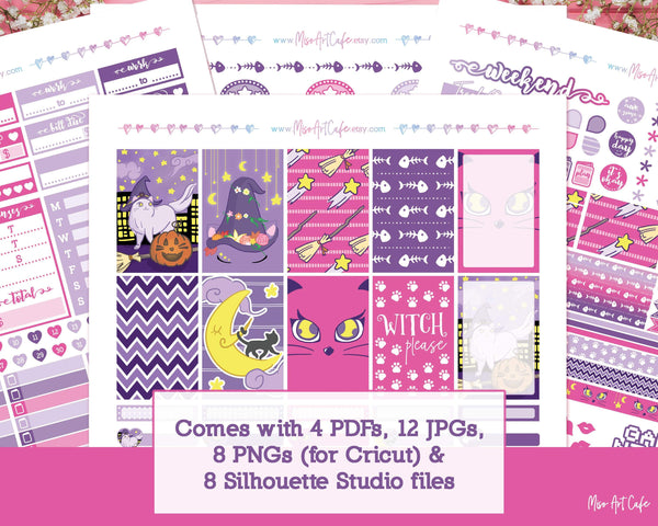 Printable Witch Kitty Weekly Kit - Classic Happy Planner - Miso Art Cafe