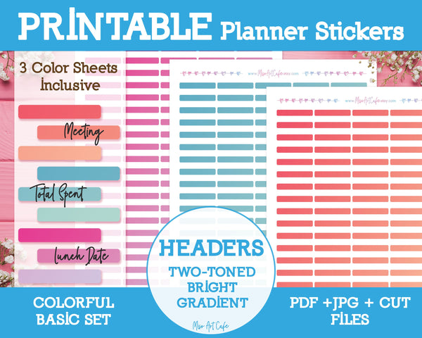 Printable Two-Toned Bright Gradient Headers - Colorful Basic Planner Stickers - Miso Art Cafe Stickers for Planners