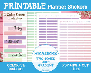 Printable Two-Toned Light Gradient Headers - Colorful Basic Planner Stickers - Miso Art Cafe
