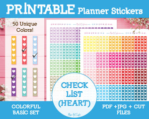 Printable Heart Checklists - Colorful Basic Planner Stickers - Miso Art Cafe