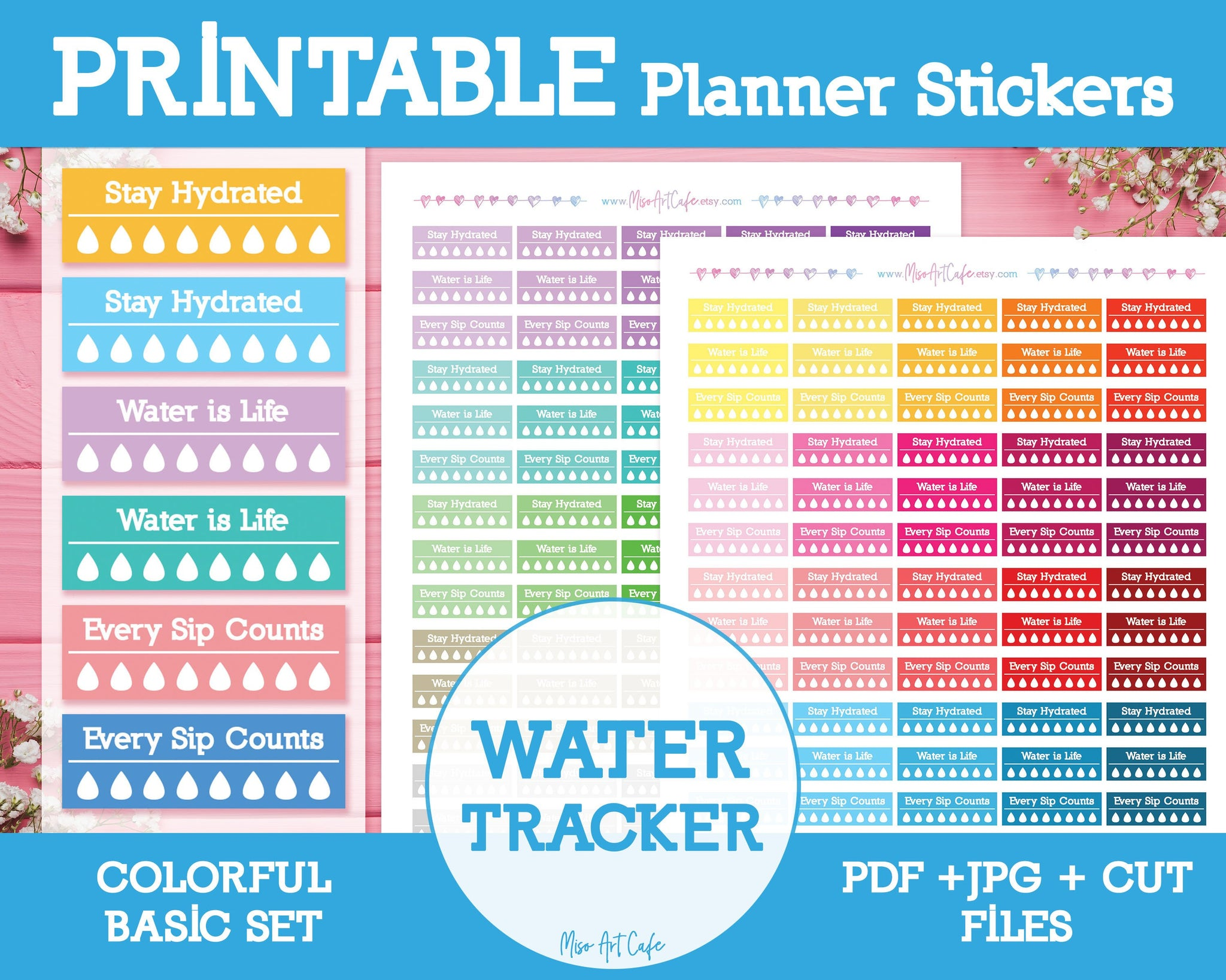Printable Water Trackers - Colorful Basic Planner Stickers - Miso Art Cafe