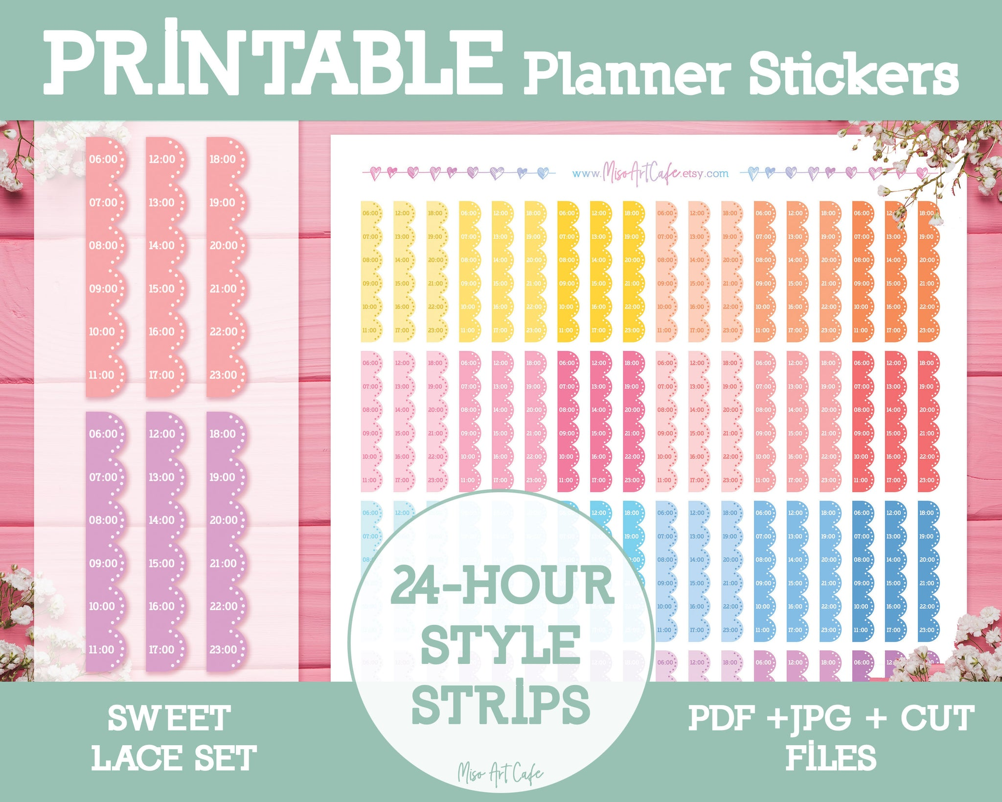 Printable Hourly Strips (24-Hour Format) - Sweet Lace Planner Stickers - Miso Art Cafe Stickers for Planners