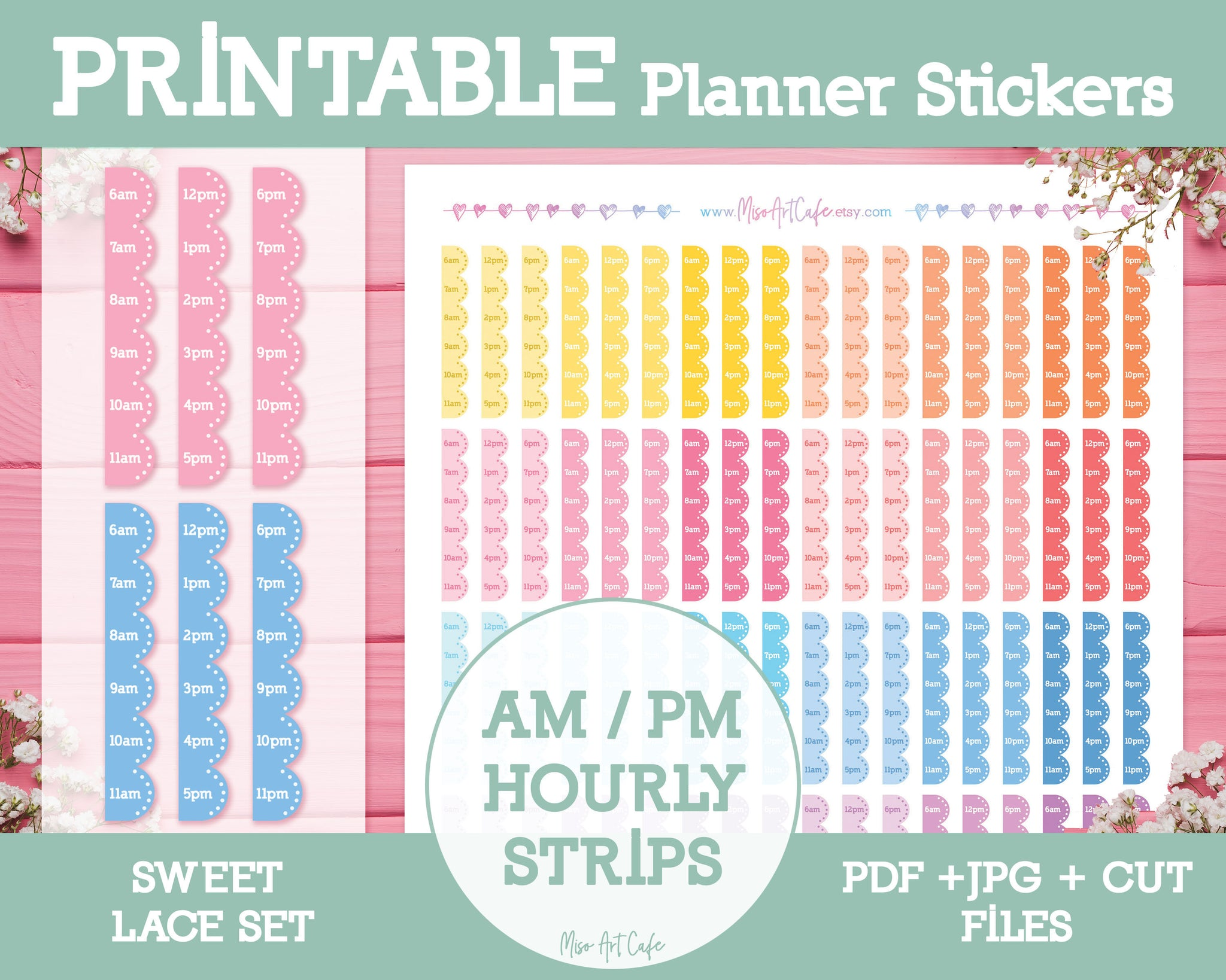 Printable Hourly Strips (AM/PM Format) - Sweet Lace Planner Stickers - Miso Art Cafe Stickers for Planners