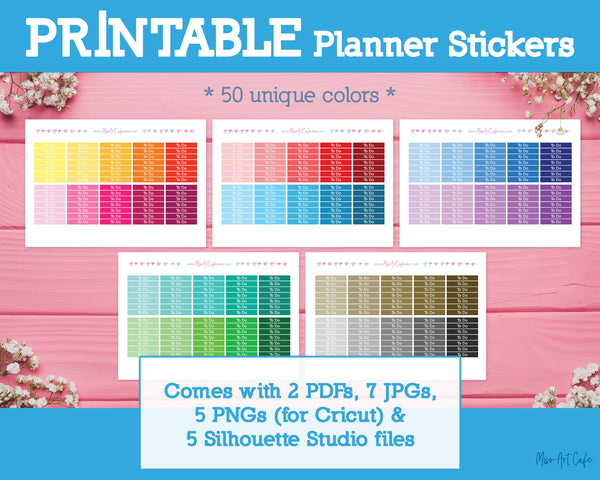 Printable To Do Basic Headers - Colorful Basic Planner Stickers - Miso Art Cafe Stickers for Planners
