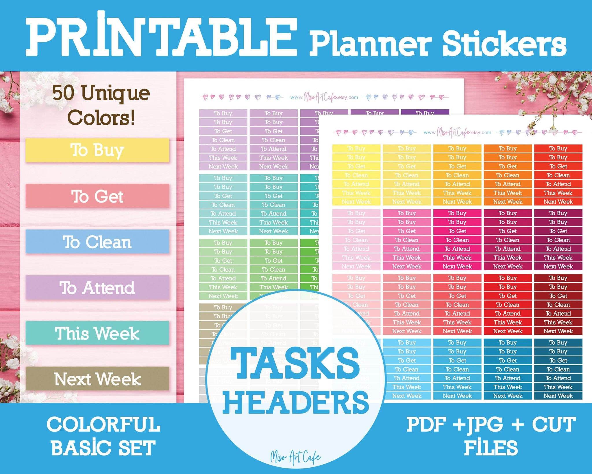 Printable Tasks Basic Headers - Colorful Basic Planner Stickers - Miso Art Cafe