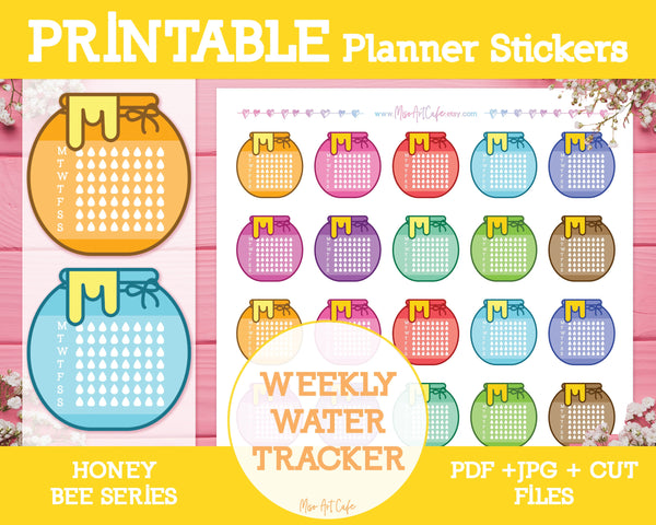 Printable Water Trackers - Honey Bee Planner Stickers - Miso Art Cafe Stickers for Planners