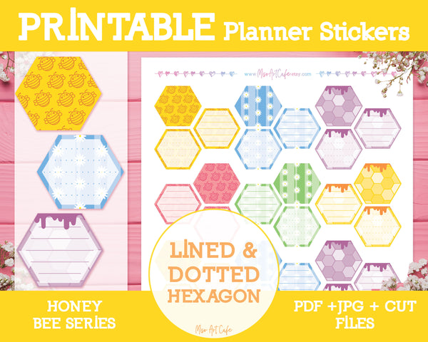 Printable Lined & Dotted Honeycomb Hexagons - Honey Bee Planner Stickers - Miso Art Cafe Stickers for Planners