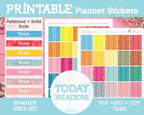 Printable Today Summer Headers - Summer Vibes Planner Stickers - Miso Art Cafe Stickers for Planners