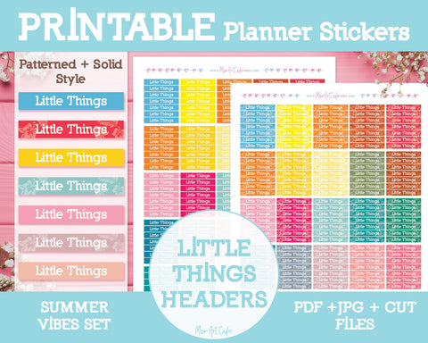 Printable Little Things Summer Headers - Summer Vibes Planner Stickers - Miso Art Cafe