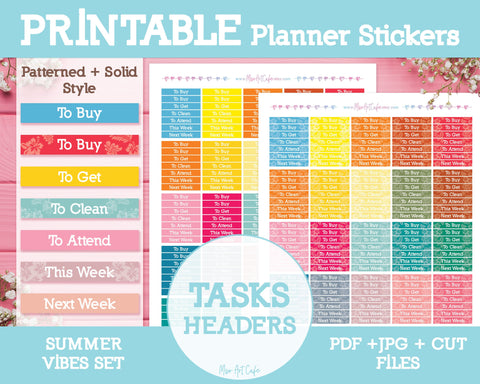 Printable Tasks Summer Headers - Summer Vibes Planner Stickers - Miso Art Cafe
