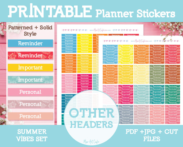 Printable Other Summer Headers - Summer Vibes Planner Stickers - Miso Art Cafe