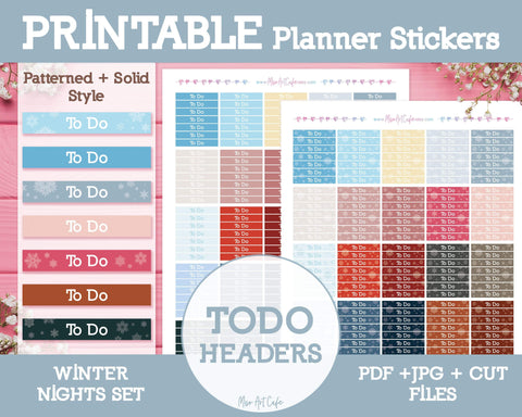 Printable To Do Winter Headers - Winter Nights Planner Stickers - Miso Art Cafe