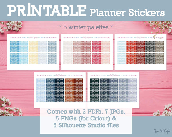 Printable Little Things Winter Headers - Winter Nights Planner Stickers - Miso Art Cafe