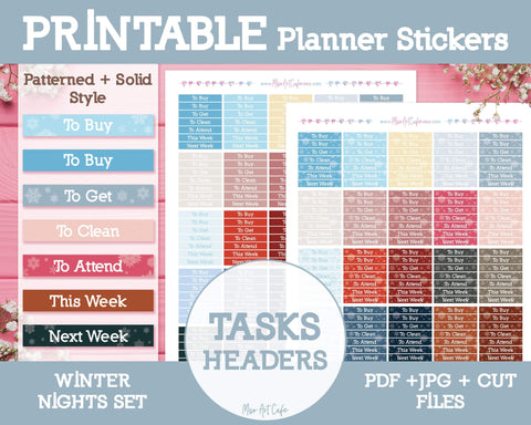 Printable Tasks Winter Headers - Winter Nights Planner Stickers - Miso Art Cafe