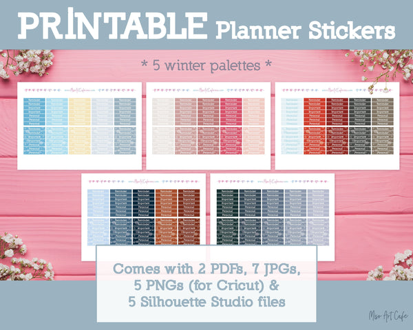 Printable 5-in-1 Winter Headers - Winter Nights Planner Stickers - Miso Art Cafe