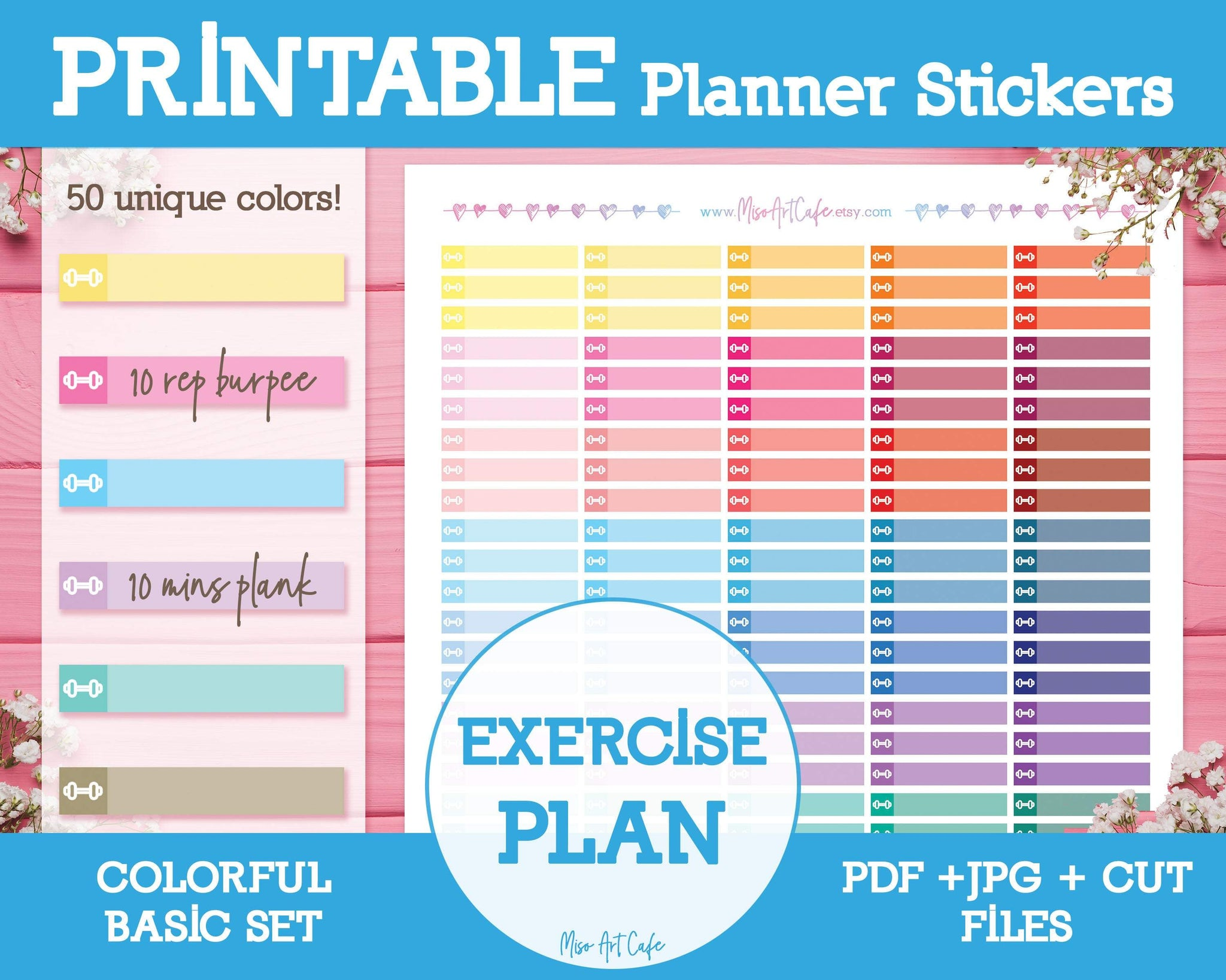 Printable Exercise Plan Lists - Colorful Basic Planner Stickers - Miso Art Cafe