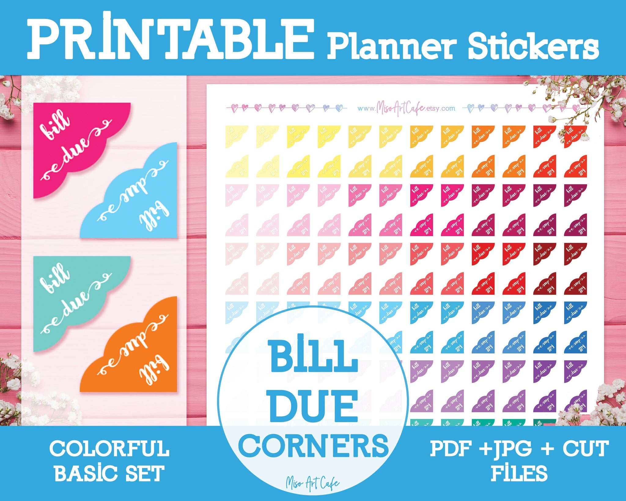 Printable Bill Due Corners - Colorful Basic Planner Stickers - Miso Art Cafe