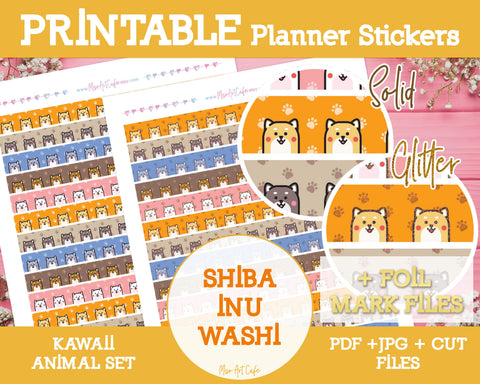Printable Shiba Inu Pattern Washi Tape - Kawaii Animal Planner Stickers - Miso Art Cafe